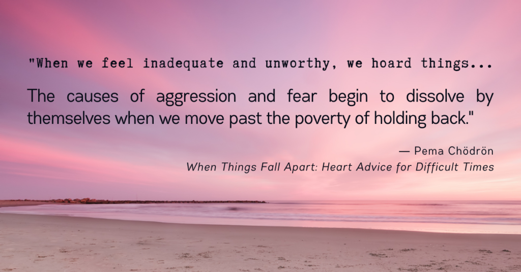 The causes of aggression and fear begin to dissolve by themselves when we move past the poverty of holding back. Peme Chodron quote When things fall apart